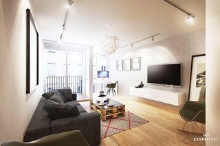 现代简约风格简洁电视背景墙设计图