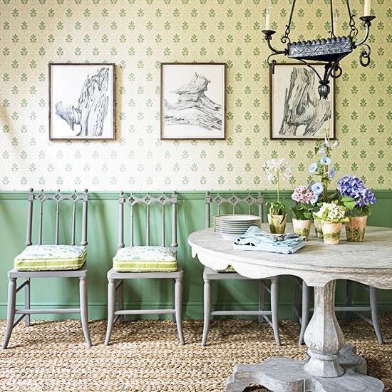简欧风格绿色餐厅壁纸图片