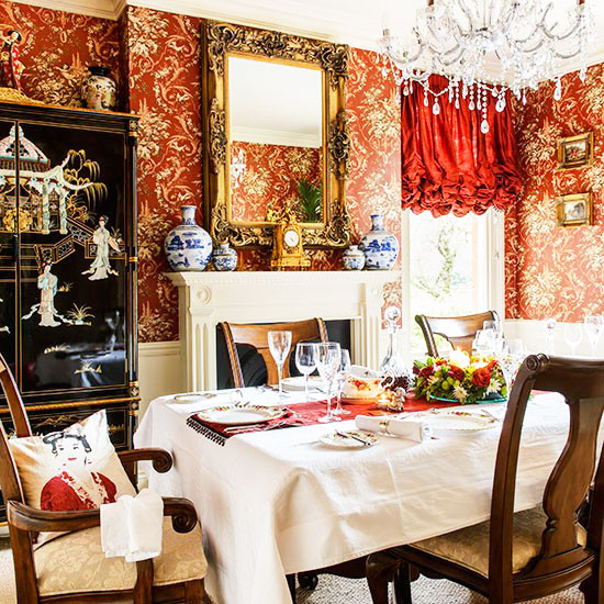 简欧风格红色餐厅壁纸效果图