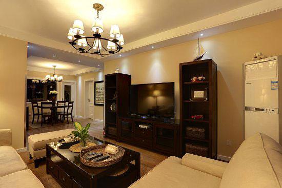 现代简约风格温馨5-10万90平米电视背景墙电视柜图片
