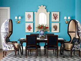清新餐廳布置 16張彩色餐桌背景墻設計圖