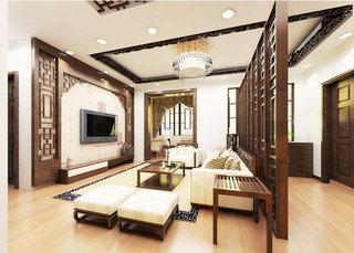 中式风格咖啡色客厅装潢