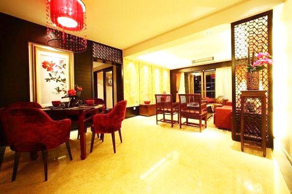 中式风格黑色客厅装修效果图