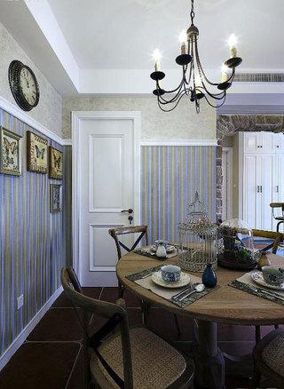 美式风格蓝色餐厅背景墙装修效果图