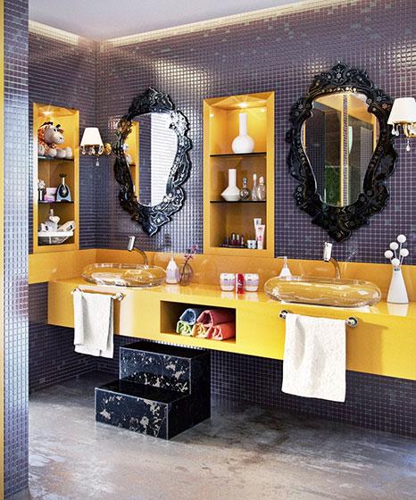 豪华卫生间洗手台效果图