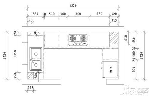 厨具中的台面,吊柜也必须依人体工学设计,以东方人的体形而言,厨房中图片
