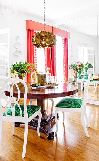 餐厅红色窗帘图片