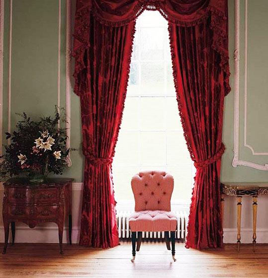欧式红色窗帘图片