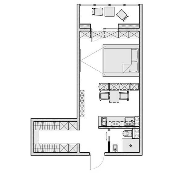 一居室平面图设计