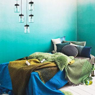 蓝绿色卧室壁纸装修效果图