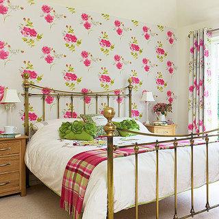 红色卧室壁纸装修效果图