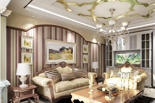 清新欧式客厅吊顶效果图