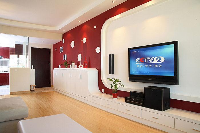 弧形红色电视背景墙