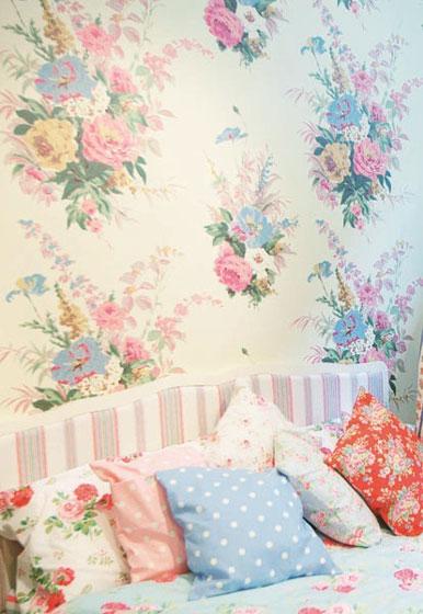 温馨田园壁纸卧室背景墙效果图