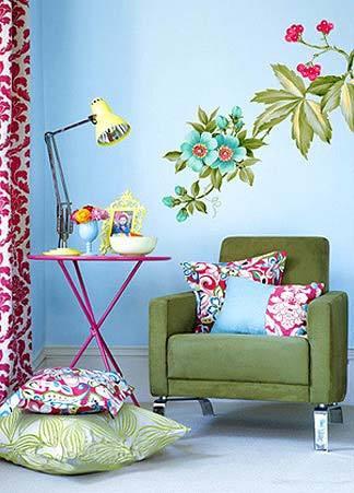 唯美花卉图案手绘墙图片