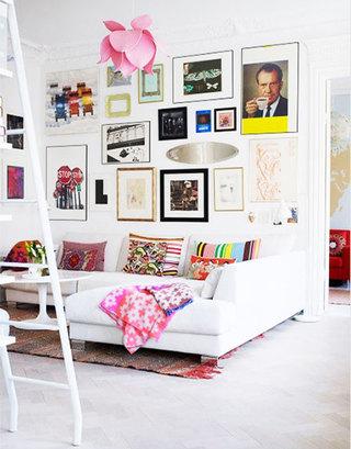 照片墙小客厅背景墙装修效果图