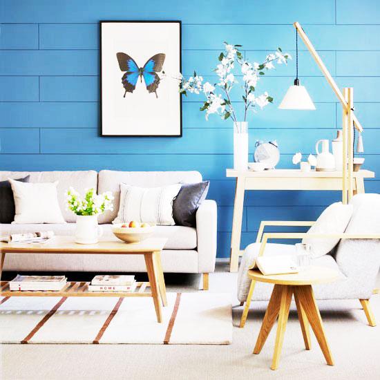 蓝色小客厅背景墙装修效果图