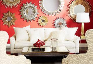 红色小客厅背景墙装修效果图
