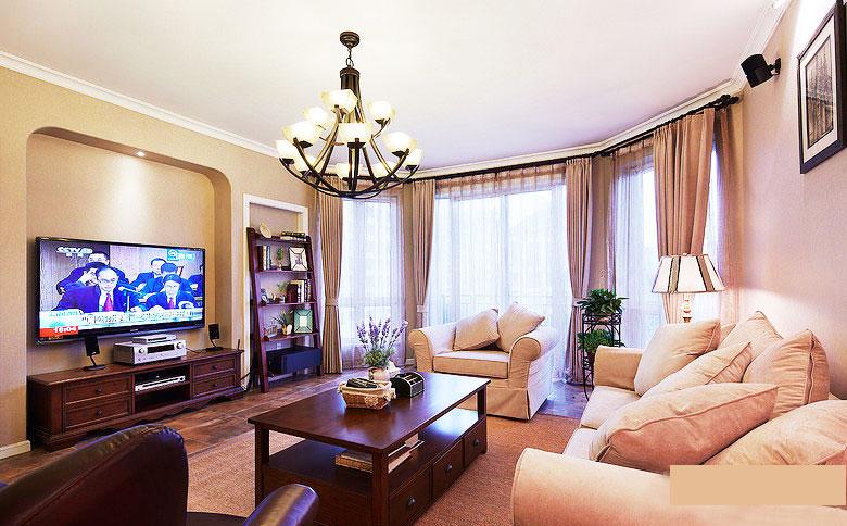小客厅美式吊灯装修效果图高清图片