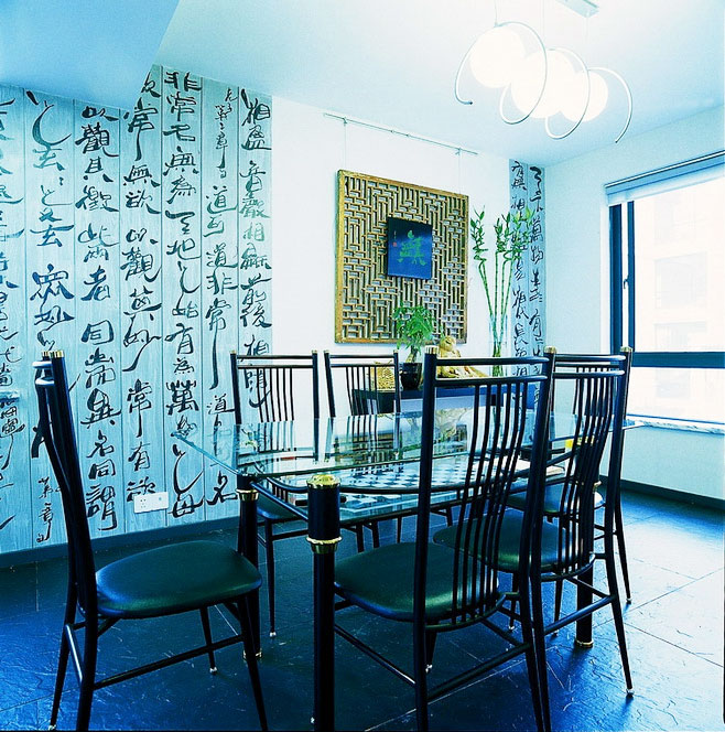 中式餐厅背景墙效果图高清图片