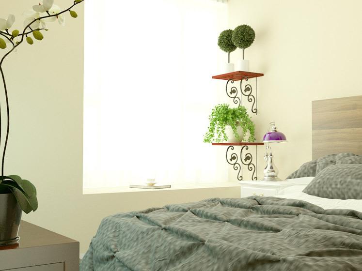 田园风格二居室暖色调5-10万80平米效果图