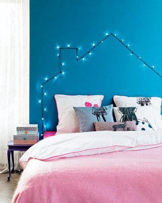 蓝色粉色卧室效果图
