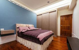 蓝色紫色卧室效果图