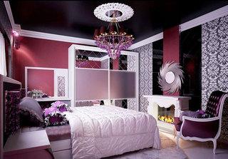 时尚欧式紫色卧室效果图