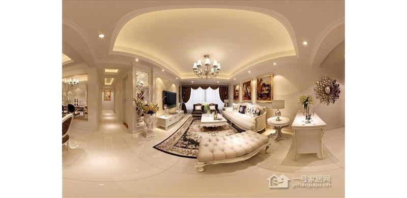 欧式109平米三房两厅一厨两卫客厅装修效果图高清图片