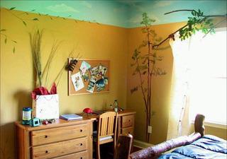 黄色卧室背景墙手绘墙效果图
