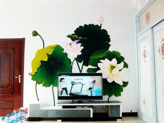中式手绘墙电视背景墙效果图