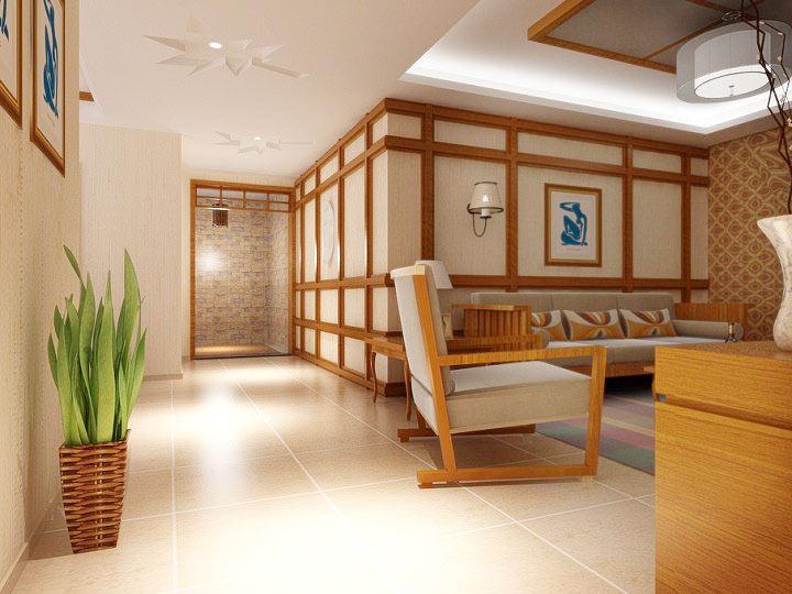 中式客厅走廊效果图