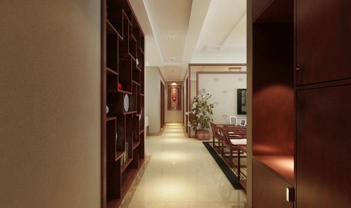 经典中式客厅走廊效果图