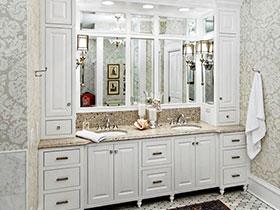 小清新简洁欧式 白色浴室柜效果图