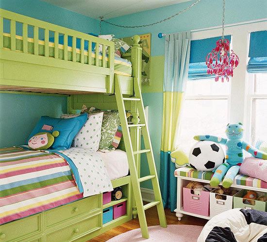 绿色双层儿童床效果图