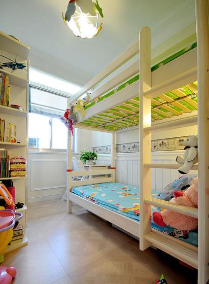 白色简约双层儿童床效果图