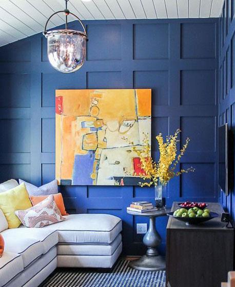 清新蓝色客厅背景墙效果图