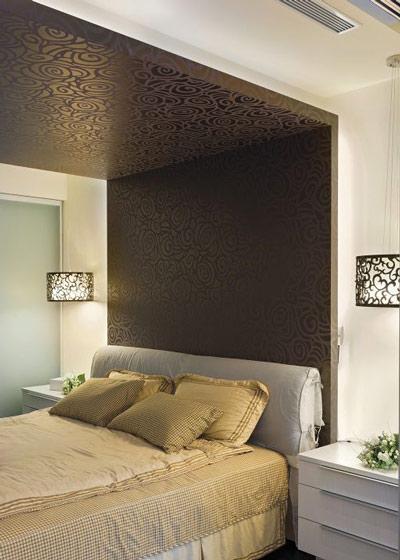 黑色卧室床头背景墙效果图