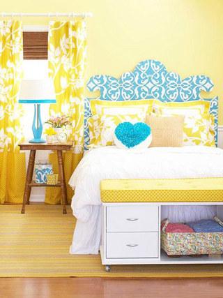 黄色温馨卧室效果图