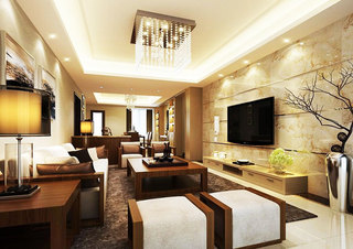 华丽中式客厅吊灯效果图