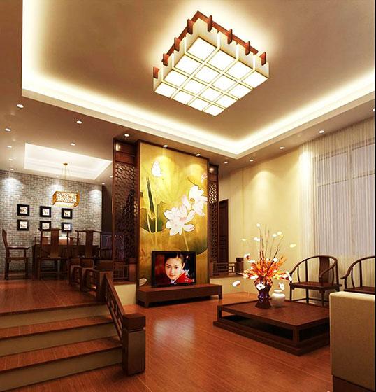 实用中式客厅吊灯效果图