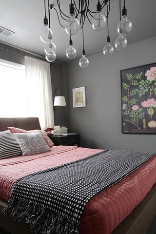 灰色粉色简约卧室效果图