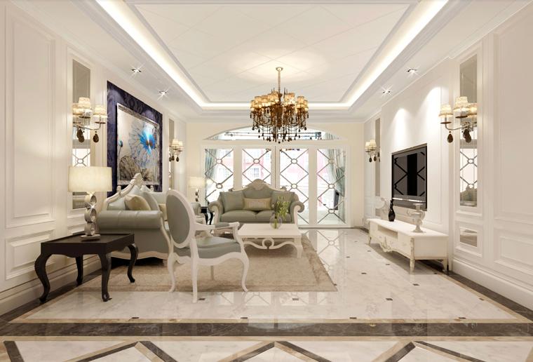 欧式混搭风格装修效果图,室内设计效果图-齐家装修网