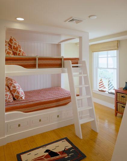 美式白色双层儿童床效果图