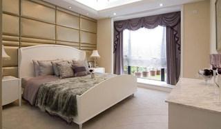 欧式白色紫色卧室效果图