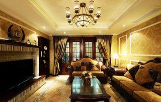 豪华美式客厅吊灯效果图