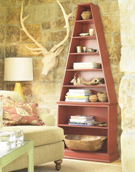 红色书柜设计图