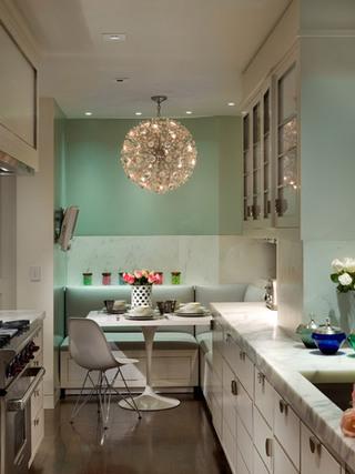 绿色白色厨房效果图