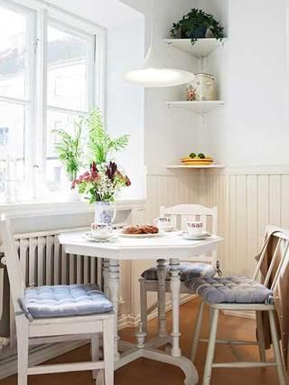 简欧白色优雅餐厅餐桌设计效果图