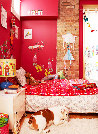 大红色女生卧室装修图片